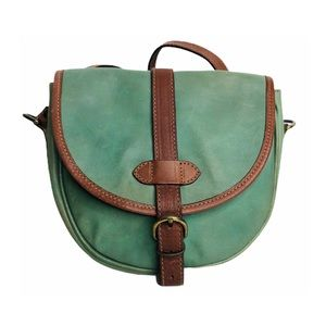 Vintage 90s Crossbody Mint Green Tan Leather Italy